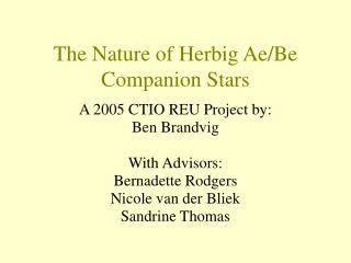 The Nature of Herbig Ae/Be Companion Stars