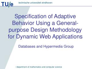 Databases and Hypermedia Group