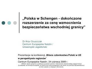 """Pre z enta cja na konferencji """" Bilans członkostwa Polski w UE  w perspektywie regionów """""""