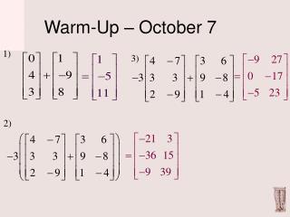 Warm-Up – October 7