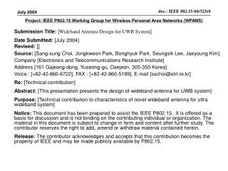 Project: IEEE P802.15 Working Group for Wireless Personal Area Networks WPANS