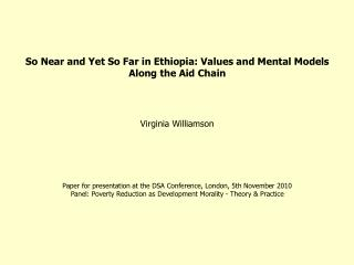 So Near and Yet So Far in Ethiopia: Values and Mental Models Along the Aid Chain