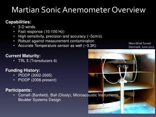 Martian Sonic Anemometer Overview