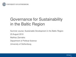 Governance for Sustainability in the Baltic Region