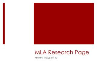 MLA Research Page