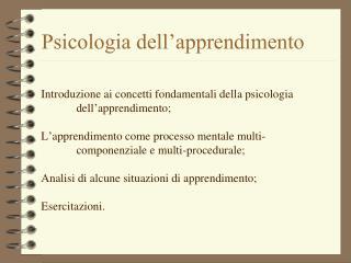 Psicologia dell�apprendimento