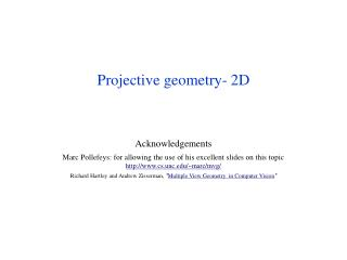 Projective geometry- 2D
