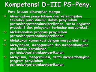 Kompetensi D-III  PS-Peny.