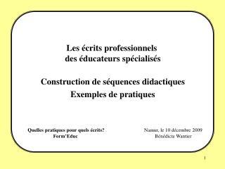 Quelles pratiques pour quels écrits? Form'Educ