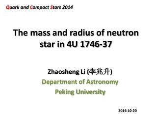 The mass  and radius of neutron star in 4U 1746-37