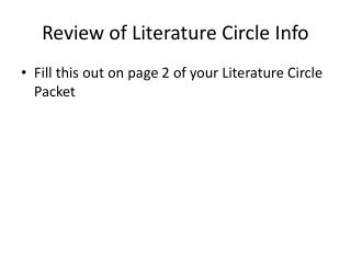 Review of Literature Circle Info