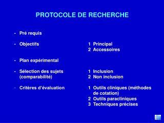PROTOCOLE DE RECHERCHE