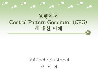 보행에서  Central Pattern Generator (CPG) 에 대한 이해