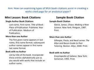 Mini Lesson: Book Citations