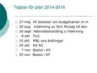 Tidplan för plan 2014-2016