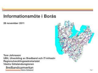 Informationsmöte i Borås 28 november 2011 Tore Johnsson