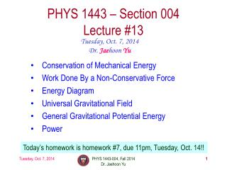 PHYS 1443 � Section  004 Lecture  #13
