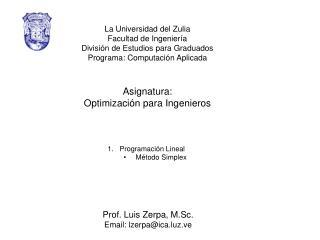 La Universidad del Zulia Facultad de Ingeniería División de Estudios para Graduados
