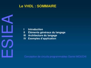 Le VHDL : SOMMAIRE