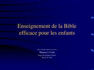 Enseignement de la Bible efficace pour les enfants