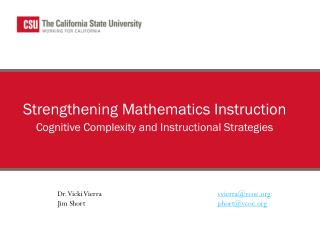Strengthening Mathematics Instruction Cognitive Complexity and Instructional Strategies