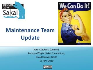 Maintenance Team Update