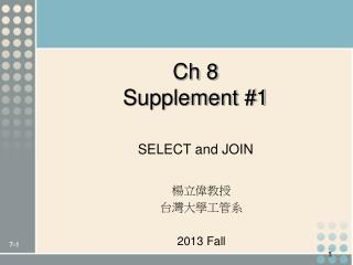 Ch 8 Supplement #1