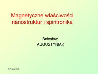 Magnetyczne właściwości nanostruktur i spintronika