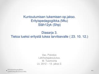 Vao. Palvelut. Lähihoitajakoulutus. M. Tuomivirta Lk. 2012 – 13. jakso 2.