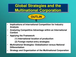 Global Strategies and the Multinational Corporation