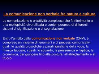 La comunicazione non verbale fra natura e cultura