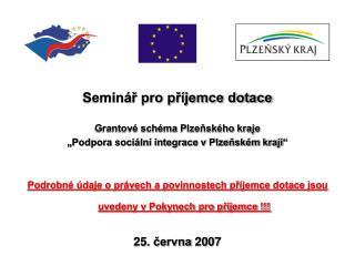 Seminář pro příjemce dotace Grantové schéma Plzeňského kraje