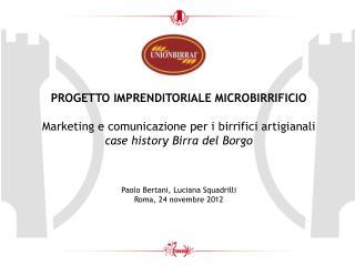 PROGETTO IMPRENDITORIALE MICROBIRRIFICIO Marketing e comunicazione per i birrifici artigianali