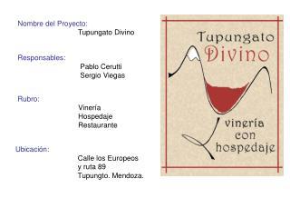 Nombre del Proyecto:                               Tupungato Divino