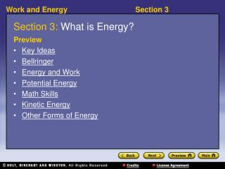 Section 3:  What is Energy?