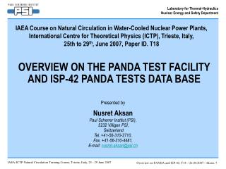 OVERVIEW ON THE PANDA TEST FACILITY AND ISP-42 PANDA TESTS DATA BASE