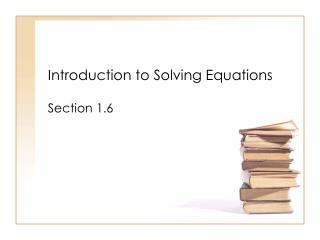 Introduction to Solving Equations