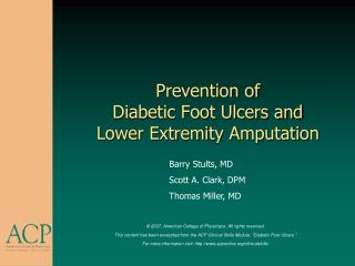 Prevention of Diabetic Foot Ulcers and  Lower Extremity Amputation