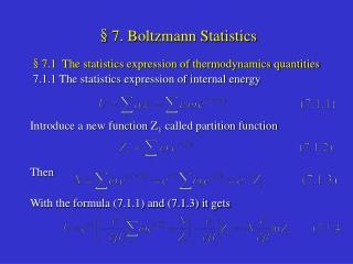 §7. Boltzmann Statistics