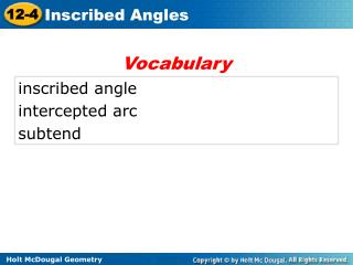 inscribed angle intercepted arc subtend