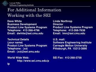 For Additional Information Working with the SEI