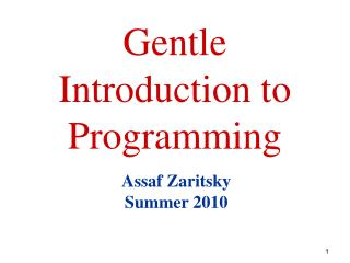 Gentle Introduction to Programming