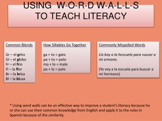 USING  W-O-R-D W-A-L-L-S   TO TEACH LITERACY