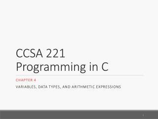 CCSA 221 Programming in C