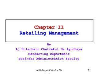 Chapter II  Retailing Management