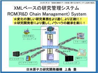 XML ベースの研究管理システム RCM(R&D Chain Management) System