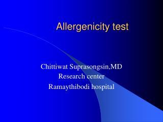 Allergenicity test