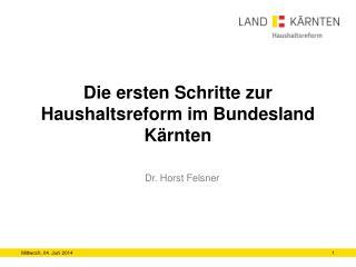 Die ersten Schritte zur Haushaltsreform im Bundesland  Kärnten