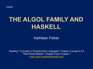 The Algol Family and Haskell