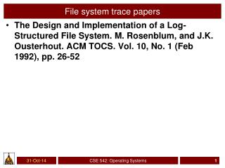 File system trace papers